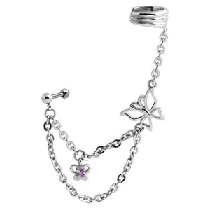 Butterfly Chain Ear Piercing Cuff - Pink