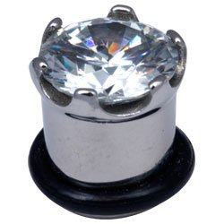 Surgical Steel Jewelled Plug - Clear Crown Jewel