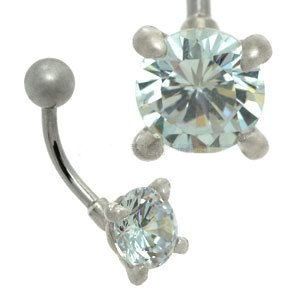 Claw Set CZ Silver and Steel Belly Bar