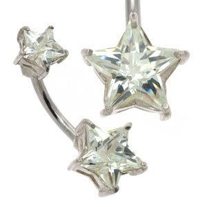 Claw Set Stars Belly Bar - Clear