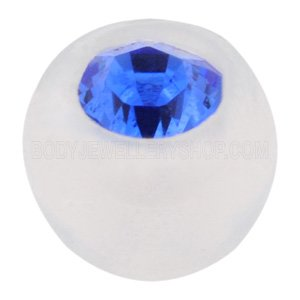Clear Bioflex Jewelled Push-Fit Ball - Blue