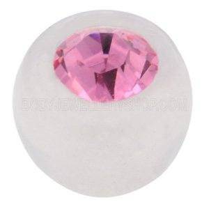 Clear Bioflex Jewelled Push-Fit Ball - Pink