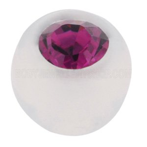 Clear Bioflex Jewelled Push-Fit Ball - Purple