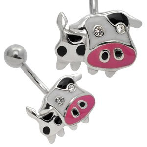 Silver and Steel Belly Piercing Bar - Cow