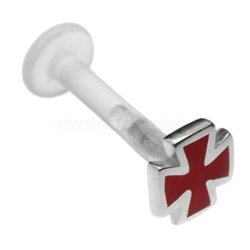 Sterling Silver & BioFlex Labret Stud - Red Cross