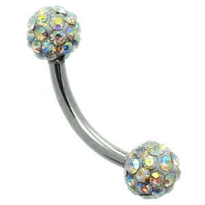 Crystal Cluster Steel Eyebrow Bar - Crystal AB