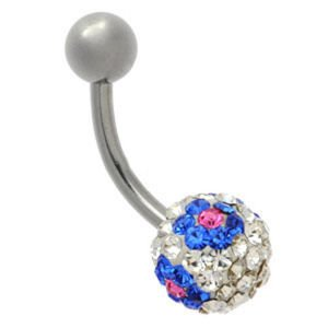 Crystal Flower Steel Belly Bar - Blue on Clear