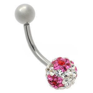 Crystal Flower Steel Belly Bar - Pink on Clear