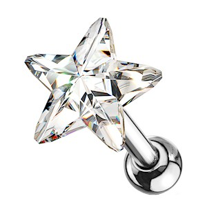 Crystal Star Cartilage Tragus Stud - Clear