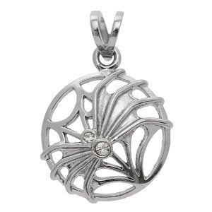 CZ & Stainless Steel Spider On Web Pendant