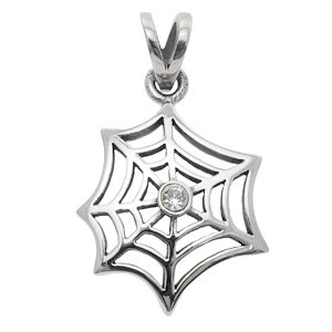 CZ & Stainless Steel Spider Web Pendant