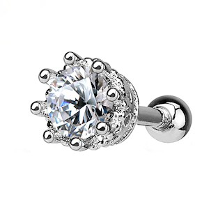 CZ Jewelled Crown Helix and Tragus Stud - Clear