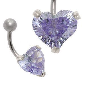 CZ Silver and Steel Belly Bar - Concave Lilac Heart