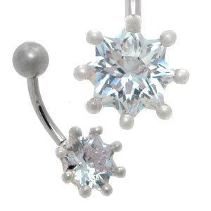 CZ Silver and Steel Belly Bar - Lilac 8 Point Star