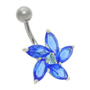 Daisy Jewel Belly Bar - Blue