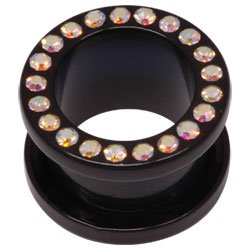 Darkside Black Acrylic Jewelled Flesh Tunnel - Crystal AB