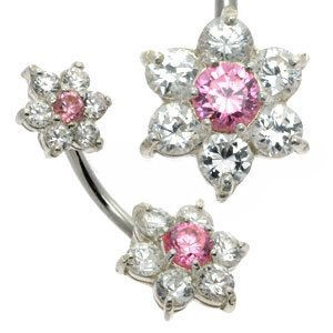 Double Jewelled Flower Belly Bar - Pink