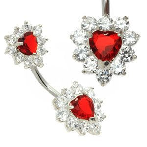 Double Jewelled Heart Belly Bar - Red