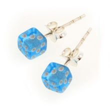 Earrings - Dice Light Blue