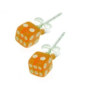 Earrings - Dice Orange