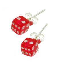 Earrings - Dice Red