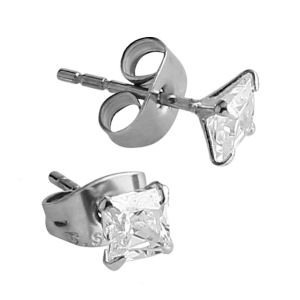 Earrings - Jewelled Square Clear