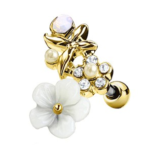 Flowered Gold Plated Surgical Steel Cartilage Stud