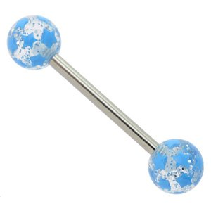Glitter Ball Barbell - Light Blue Stars