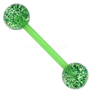 Flexible Glitter UV Barbell - Green