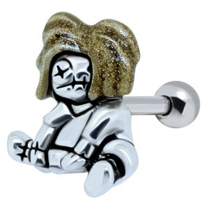 Glitter Ear Piercing Bar - Gold Zombie