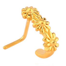 Gold Plated 90 Degree Floral Nose Stud Buy Jewellery