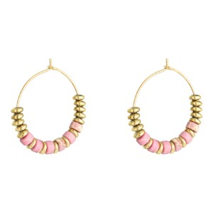 Pretty Hoop Gold Plated Earrings - with Pink Beads