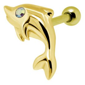 Gold Plated Crystal AB Jewelled Dolphin Tragus Bar Stud