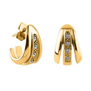 Gold Plated Crystal Jewelled Ear Studs