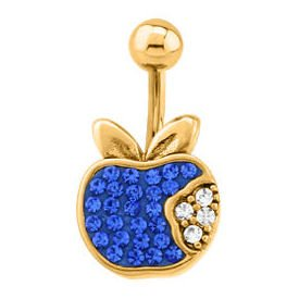 Gold Plated Crystalline Jewelled Navel Bananabell