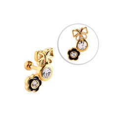 Gold Plated Flower & Butterfly Tragus Barbell Stud- Black & Crystal