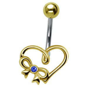 Gold-Plated Heart Belly Bar - Blue