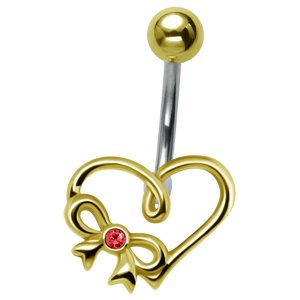 Gold-Plated Heart Belly Bar - Red
