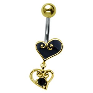Gold-Plated Heart Drop Belly Bar - Black