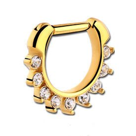Gold Plated Hinged Septum Clicker Ring - Crystal
