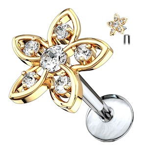 Gold Plated Jewelled Flower Internally Threaded Labret Stud - Clear