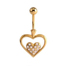 Gold Plated Jewelled Heart Bananabell - Crystal AB