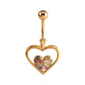 Gold Plated Jewelled Heart Bananabell - Multi Coloured