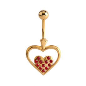 Gold Plated Jewelled Heart Bananabell - Red