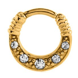 Gold Plated Jewelled Hinged Clicker Ring - Crystal