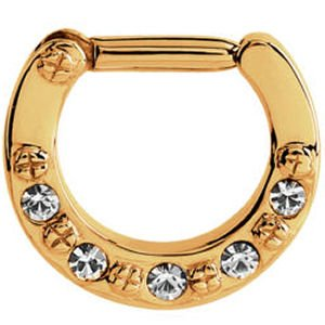 Gold Plated Jewelled Hinged Septum Clicker Ring - Crystal