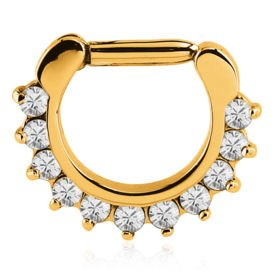 Gold Plated Jewelled Prong Set Hinged Septum Clicker Ring - Crystal