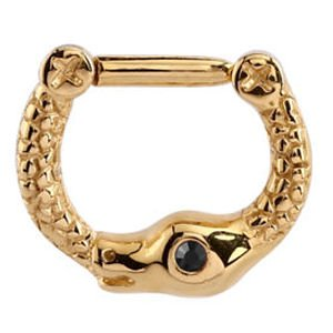 Gold Plated Jewelled Snake Septum Clicker Ring - Black