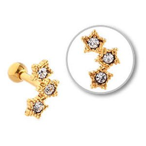 Gold Plated Jewelled Tragus Barbell Stud- 3 Stars