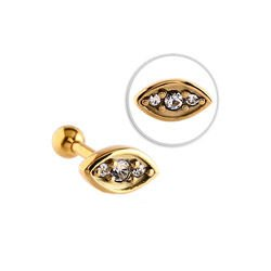 Gold Plated Jewelled Tragus Barbell Stud- Crystal